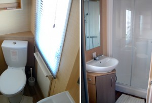 caravan shower, toilet and washbasin